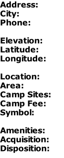 Address: City: Phone:  Elevation: Latitude: Longitude:  Location: Area: Camp Sites: Camp Fee: Symbol:  Amenities: Acquisition: Disposition: