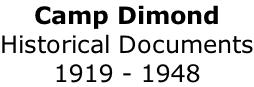 Camp Dimond Historical Documents 1919 - 1948