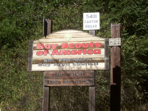 Entrance sign to Wente Scout Reservation from Canyon road